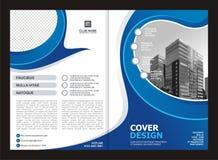 Брошюра, рогулька, дизайн шаблона с голубым и белым цветом Стоковая Фотография