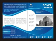 Брошюра, рогулька, дизайн шаблона с голубым и белым цветом Стоковые Фото