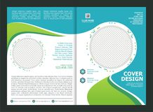 Брошюра, рогулька, дизайн шаблона с зеленым цветом и цвет tosca Стоковое Фото