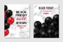 Брошюра установленная для черной продажи пятницы Сияющие черные и красные воздушные шары на мраморной предпосылке иллюстрация вектора