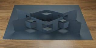 Брошюра чистого листа бумаги на серой предпосылке Стоковое фото RF