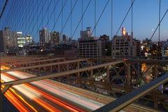 Бруклинский мост захода солнца Стоковые Изображения
