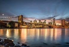 Бруклинский мост с заходом солнца Стоковые Фотографии RF