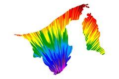 Бруней - карта конструированная картина конспекта радуги красочная, нация Бруней, обитель карты мира сделанная взрыва цвета бесплатная иллюстрация