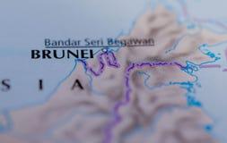 Бруней на карте Стоковое Изображение RF