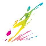 Брызгать краски - футболист пинает шарик Стоковая Фотография RF