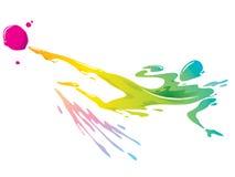 Брызгать краски - футболист пиная шарик Стоковые Изображения