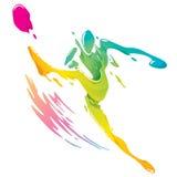 Брызгать краски - футболист пиная шарик иллюстрация вектора
