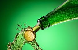 Брызгать пивной бутылки стоковое фото