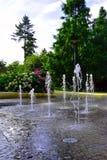 Брызгать фонтаны танцев в парке Podebrady Стоковое Изображение