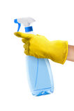 брызг руки чистки бутылки Стоковое Изображение