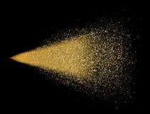 Брызг яркого блеска золота на черной предпосылке Накаляя падения в движении Золотые волшебные частицы света пыли звезды Яркий взр иллюстрация вектора