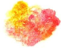 Брызните красное, желтое isolat чернил воды цвета watercolour помаркой краски Стоковая Фотография