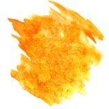 Брызните wa воды цвета watercolour помаркой желтого цвета краски изолированное чернилами Стоковая Фотография