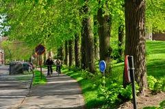 Брюгге, Бельгия - 10-ое апреля: Неопознанные туристы посещают средневековый город brugge используя типичный велосипед на дороге в  Стоковая Фотография