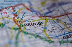Брюгге на карте Стоковое Изображение RF