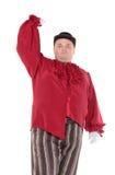 Брюзглый человек в красном шлеме костюма и подающего Стоковое Изображение RF