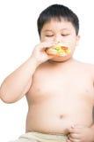 Брюзгливый тучный ребенок мальчика ест изолированный гамбургер цыпленка Стоковая Фотография RF