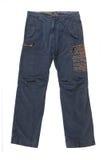 брюки предпосылки голубые изолированные белые стоковые изображения