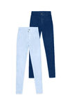 2 брюк джинсов высоких талии тощих, изолированного на белой предпосылке Стоковые Изображения RF