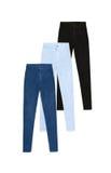 3 брюк джинсов высоких талии тощих, изолированного на белом backgroun Стоковая Фотография