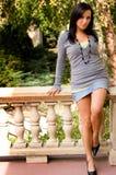 брюнет балкона красивейшее Стоковое Фото