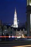 Брюссель на ноче Стоковые Изображения