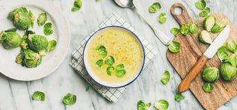 Брюссель пускает ростии суп сливк овоща над мраморной предпосылкой, широким составом стоковое фото