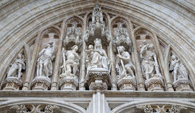 Брюссель - церковь Dame du Sablon готская - портал Стоковые Изображения