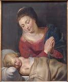 Брюссель - Madonna и pacis спать маленькие Иисус Мария - Mary мира (1716) неизвестным художником в церков St Nicholas стоковая фотография
