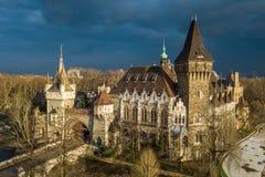 Будапешт, Венгрия - вид с воздуха красивого замка Vajdahunyad в парке города на заходе солнца с темными облаками позади Стоковые Изображения RF