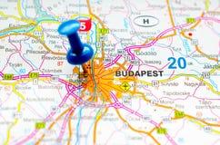 Будапешт на карте Стоковая Фотография