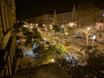 Будапешт на ноче от старого house& x27; балкон s Стоковые Фотографии RF