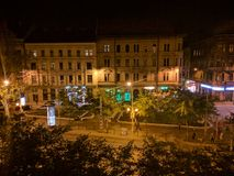 Будапешт на ноче от старого house& x27; балкон s Стоковая Фотография RF
