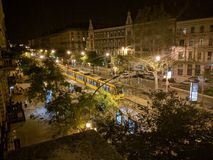 Будапешт на ноче от старого house& x27; балкон s Стоковая Фотография