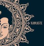 Будда в раздумье на красивой и волшебной мандале