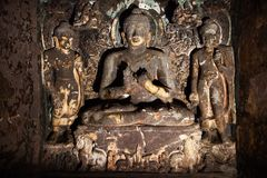 Будда и бодхисаттв в Ajanta стоковое изображение