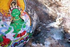 Буддийские картины в yading заповеднике, Сычуань стоковое изображение rf