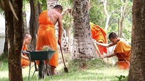 Буддийские монахи регулируют лужайку видеоматериал