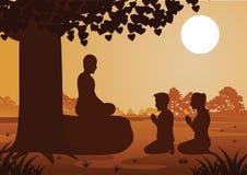Буддийские пары оплачивают уважение к монаху вежливо с верой и верят иллюстрация штока