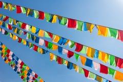 Буддийские тибетские флаги молитве Стоковое Изображение RF