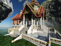 Буддийский висок в переводе гор 3d иллюстрация штока