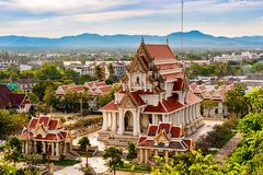Буддийский висок Wat Thammikaram в Prachuap Khiri Khan, Таиланде Стоковая Фотография RF