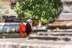 2 буддийских монаха на улице, Louangphabang, Лаосе задний взгляд фокуса съемка outdoors селективная Стоковые Фото