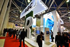 Будочка AGC на выставке 2012, 11-ое апреля 2012, Москва, Россия MosBuild Стоковые Изображения RF