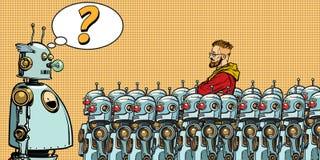 Будущее Выбор между роботами и людьми иллюстрация вектора