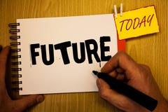 Будущее сочинительства текста почерка Период времени смысла концепции следовать событиями присутствующего момента которые случатс Стоковое Изображение