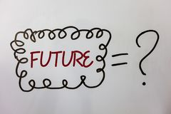Будущее текста сочинительства слова Концепция дела на период времени следовать событиями присутствующего момента которые случатся Стоковое фото RF