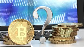Будущее Bitcoin, вопросительный знак, bitcoin на компьтер-книжке и диаграммы на заднем плане иллюстрация штока