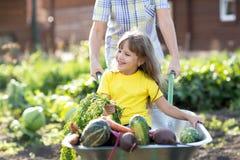 Будьте матерью играть с ребенк используя вагонетку в деревне стоковое изображение
